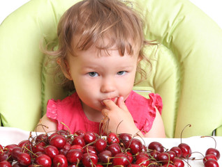 child tastes cherry