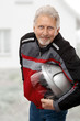Man with biker helmet