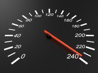 Speedometer on black background
