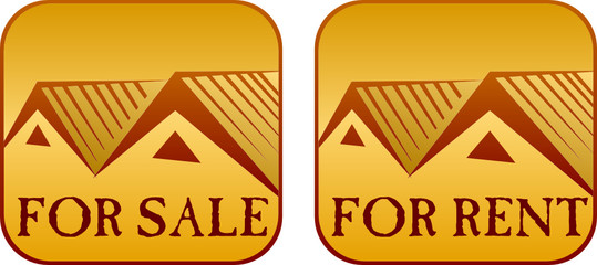 For sale and rent house sign with white background