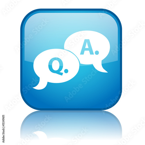 "Square ""Q.&A."" button with refleciton (blue)"
