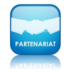 "Bouton carré ""PARTENARIAT"" (bleu)"