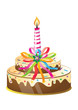 Birthday cake and candle with colorful ribbons