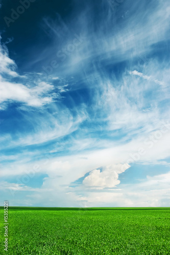 blue sky, green field, white clouds