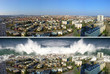 Leinwanddruck Bild - tsunami on the city before and after