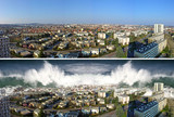 tsunami on the city before and after