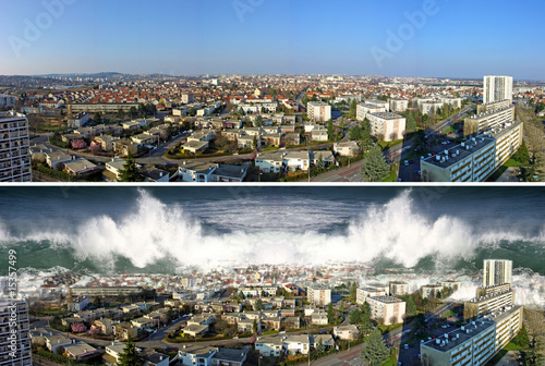 Leinwanddruck Bild tsunami on the city before and after
