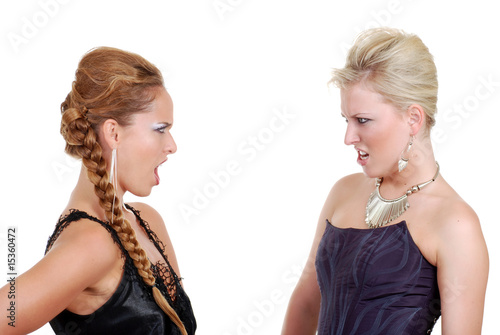 Isolated two models arguing on a white background
