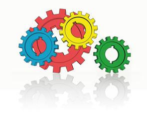 isolated cogwheels - business network - illustration