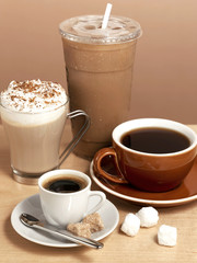 assorted coffee beverages