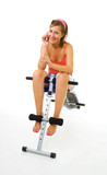 woman and bench for abdominal muscles poster