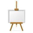 Wooden easel with blank canvas. Vector.