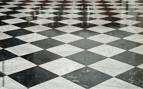 Black and White Marble Floor - 15371046