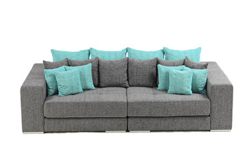 A view of a modern sofa isolated on white background