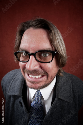 Man with Glasses making a Funny Face