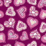 Fototapety background with scribble hearts