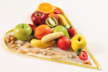 Healthy food in a heart shape.