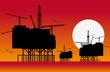 Silhouettes de plate-formes pétrolières