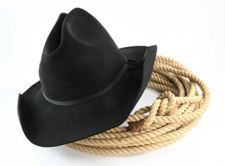 Old cowboy hat with rope