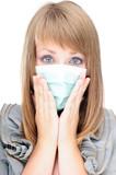 Beautiful tyoung woman in panic about swine flu poster