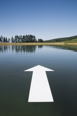 Blank arrow on water with trees