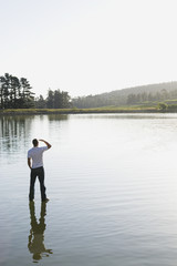 Man standing on water