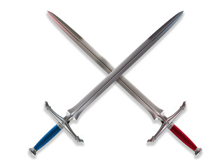 Crossed Norman broadswords