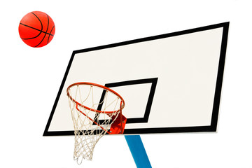 Backboard and ball on white