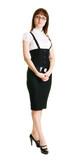 Young businesswoman full length portrait poster