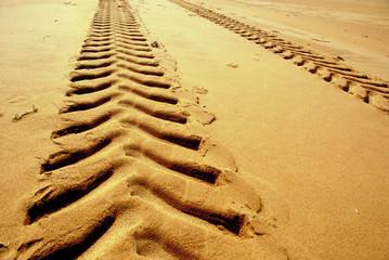 trace de véhicule dans le sable