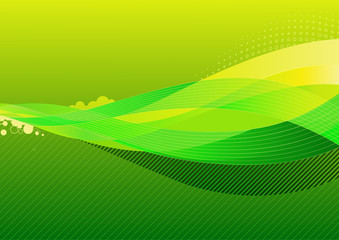 abstract background made of green splashes and curved lines