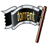 Torrent file extension icon on black vector flag poster