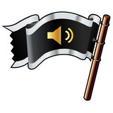 Mute or volume control media player icon on black vector flag poster