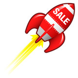 Sale e-commerce icon on red retro rocket ship poster