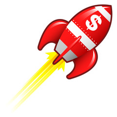 Dollar sign currency symbol on red retro rocket ship