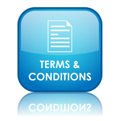"Square ""TERMS & CONDITIONS"" button with reflection (blue)"