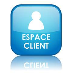 """Bouton carré """"ESPACE CLIENT"""" avec reflet (bleu)"""