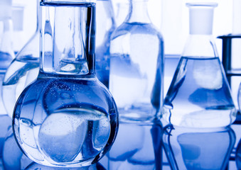 Blue laboratory glass background