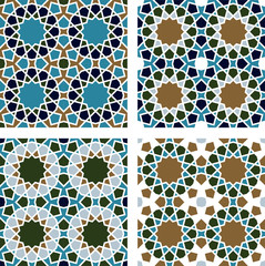 4 Islamic Star Patterns Green, Blue, White, Brown