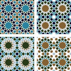4 Islamic Star Patterns Green, Blue, White, Brown