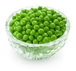 Preserved peas in crystal bowl
