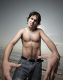 Shirtless man with attitude poster
