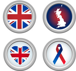 United Kingdom Buttons with ribbon, heart, map and flag