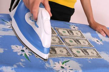 ironing american dollars