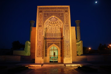Samarkand sightseeing Guri Amir Mausoleum by night