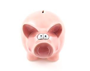 pink piggy bank on white