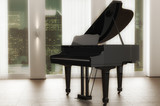 Black piano with new york background