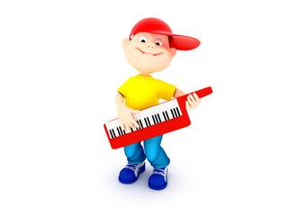 Boy playing on piano