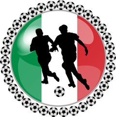 illustration eines fussball buttons italien
