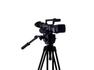 Black video camera mounted on tripod 3/4 view